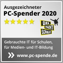 """Siegel """"Ausgezeichneter PC-Spender 2020"""""""